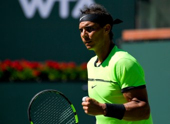 Rafael Nadal, of Spain, celebrates during his match against Guido Pella, of Argentina, at the BNP Paribas Open tennis tournament, Sunday, March 12, 2017, in Indian Wells, Calif. (AP Photo/Mark J. Terrill)