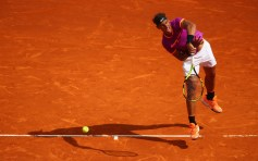 Rafael Nadal of Spain serves against Kyle Edmund of Great Britain in his second round match on day four of the Monte Carlo Rolex Masters at Monte-Carlo Sporting Club on April 19, 2017 in Monte-Carlo, Monaco. (April 18, 2017 - Source: Clive Brunskill/Getty Images Europe)