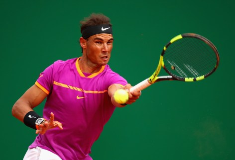Rafael Nadal of Spain plays a forehand against Kyle Edmund of Great Britain in his second round match on day four of the Monte Carlo Rolex Masters at Monte-Carlo Sporting Club on April 19, 2017 in Monte-Carlo, Monaco. (April 18, 2017 - Source: Clive Brunskill/Getty Images Europe)