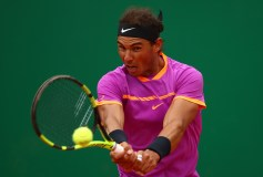 Rafael Nadal of Spain plays a backhand against Kyle Edmund of Great Britain in his second round match on day four of the Monte Carlo Rolex Masters at Monte-Carlo Sporting Club on April 19, 2017 in Monte-Carlo, Monaco. (April 18, 2017 - Source: Clive Brunskill/Getty Images Europe)