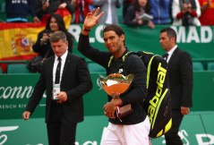Rafael Nadal of Spain walks off court with his winners trophy after his straight set victory against Albert Ramos-Vinolas of Spain in the final on day eight of the Monte Carlo Rolex Masters at Monte-Carlo Sporting Club on April 23, 2017 in Monte-Carlo, Monaco. (April 22, 2017 - Source: Clive Brunskill/Getty Images Europe)