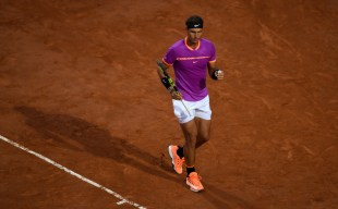 Rafael Nadal of Spain celebrates winning a point during his 3rd round match against Jack Sock of USA in The Internazionali BNL d'Italia 2017 at Foro Italico on May 18, 2017 in Rome, Italy. (May 17, 2017 - Source: Gareth Copley/Getty Images Europe)