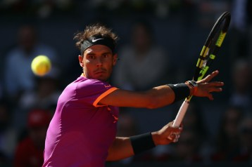 Rafael Nadal of Spain in action against Fabio Fognini of Italy during day five of the Mutua Madrid Open tennis at La Caja Magica on May 10, 2017 in Madrid, Spain. (May 9, 2017 - Source: Julian Finney/Getty Images Europe)
