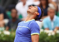 Rafael Nadal of Spain reacts during the mens singles first round match against Benoit Paire of France on day two of the 2017 French Open at Roland Garros on May 29, 2017 in Paris, France. (May 28, 2017 - Source: Clive Brunskill/Getty Images Europe)