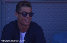 Real Madrid Cristiano Ronaldo watching Rafael Nadal against Novak Djokovic at Madrid Open SF 2017