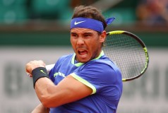 Rafael Nadal of Spain hits a forehand during the men's singles third round match against Nikoloz Basilashvili of Georgia on day six of the 2017 French Open at Roland Garros on June 2, 2017 in Paris, France. (June 1, 2017 - Source: Clive Brunskill/Getty Images Europe)