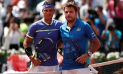 Stan Wawrinka and Spain's Rafael Nadal pose for a photograph before the final. Photograph: Benoit Tessier/Reuters