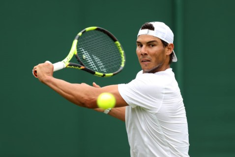Rafael Nadal on the practice courts during a preview day at the The All England Lawn Tennis and Croquet Club, London. (Photo by Adam Davy/PA Images via Getty Images)