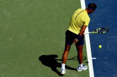 Rafael Nadal of Spain tugs at his shorts before serving to Albert Ramos-Vinolas of Spain during day 7 of the Western & Southern Open at the Lindner Family Tennis Center on August 18, 2017 in Mason, Ohio. (Aug. 17, 2017 - Source: Matthew Stockman/Getty Images North America)