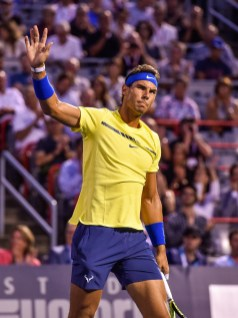 Rafael Nadal of Spain salutes the fans prior to his match against Denis Shapovalov of Canada during day seven of the Rogers Cup presented by National Bank at Uniprix Stadium on August 10, 2017 in Montreal, Quebec, Canada. (Aug. 9, 2017 - Source: Minas Panagiotakis/Getty Images North America)