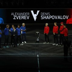 (L-R) Tomas Berdych, Dominic Thiem, Marin Cilic, Alexander Zverev, Roger Federer, Rafael Nadal and Bjorn Borg of Team Europe Line up and (L-R) John Mcenroe, Sam Querrey, John Isner, Nick Kyrgios, Jack Sock, Denis Shapovalov and Frances Tiafoe of Team World line up during previews ahead of the Laver Cup on September 21, 2017 in Prague, Czech Republic. The Laver Cup consists of six European players competing against their counterparts from the rest of the World. Europe will be captained by Bjorn Borg and John McEnroe will captain the Rest of the World team. The event runs from 22-24 September. (Sept. 20, 2017 - Source: Julian Finney/Getty Images Europe)