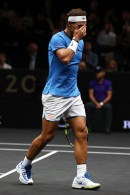 Rafael Nadal of Team Europe plays looks dejected in his mens singles match against John Isner of Team World on the final day of the Laver cup on September 24, 2017 in Prague, Czech Republic. The Laver Cup consists of six European players competing against their counterparts from the rest of the World. Europe will be captained by Bjorn Borg and John McEnroe will captain the Rest of the World team. The event runs from 22-24 September. (Sept. 23, 2017 - Source: Clive Brunskill/Getty Images Europe)