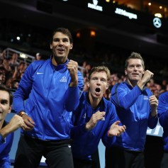 Roger Federer, Rafael Nadal, Tomas Berdych, Thomas Enqvist and Fernando Verdasco of Team Europe celebrate as they watch the singles match between Dominic Thiem of Team Europe and John Isner of Team World on the first day of the Laver Cup on September 22, 2017 in Prague, Czech Republic. The Laver Cup consists of six European players competing against their counterparts from the rest of the World. Europe will be captained by Bjorn Borg and John McEnroe will captain the Rest of the World team. The event runs from 22-24 September. (Sept. 21, 2017 - Source: Julian Finney/Getty Images Europe)