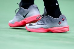 A view of the shoes of Rafael Nadal of Spain during his match against Leonardo Mayer of Argentina on Day Six of the 2017 US Open at the USTA Billie Jean King National Tennis Center on September 2, 2017 in the Flushing neighborhood of the Queens borough of New York City. (Sept. 1, 2017 - Source: Clive Brunskill/Getty Images North America)