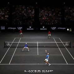 Rafael Nadal serves playing with Tomas Berdych of Team Europe during there doubles match against Nick Kyrgios ans Jack Sock of Team World on the first day of the Laver Cup on September 22, 2017 in Prague, Czech Republic. The Laver Cup consists of six European players competing against their counterparts from the rest of the World. Europe will be captained by Bjorn Borg and John McEnroe will captain the Rest of the World team. The event runs from 22-24 September. (Sept. 21, 2017 - Source: Julian Finney/Getty Images Europe)
