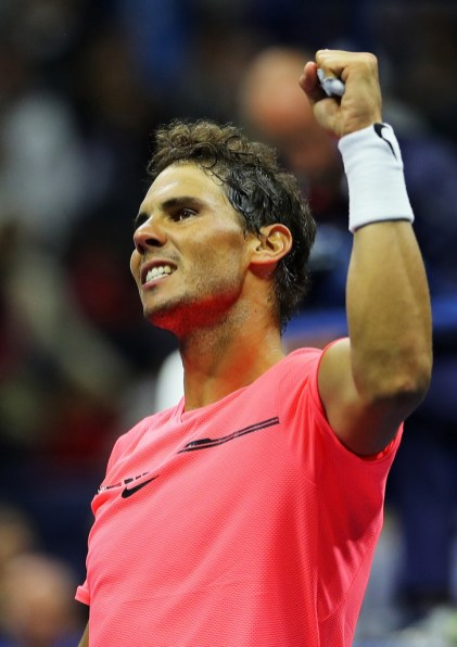 Rafael Nadal of Spain reacts after his third round match win over Leonardo Mayer of Argentina during their third round Men's Singles match on Day Six of the 2017 US Open at the USTA Billie Jean King National Tennis Center on September 2, 2017 in the Flushing neighborhood of the Queens borough of New York City. (Sept. 1, 2017 - Source: Richard Heathcote/Getty Images North America)