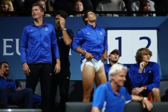 Rafael Nadal of Team Europe reacts with Team Europe team mates during the mens singles match between Roger Federer and Nick Kyrgios of Team World on the final day of the Laver cup on September 24, 2017 in Prague, Czech Republic. The Laver Cup consists of six European players competing against their counterparts from the rest of the World. Europe will be captained by Bjorn Borg and John McEnroe will captain the Rest of the World team. The event runs from 22-24 September. (Sept. 23, 2017 - Source: Clive Brunskill/Getty Images Europe)