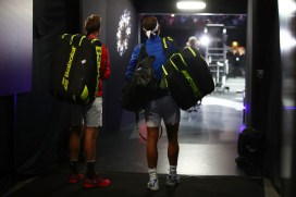 Rafael Nadal of Team Europe and Jack Sock of Team World enter the arena on Day 2 of the Laver Cup on September 23, 2017 in Prague, Czech Republic. The Laver Cup consists of six European players competing against their counterparts from the rest of the World. Europe will be captained by Bjorn Borg and John McEnroe will captain the Rest of the World team. The event runs from 22-24 September. (Sept. 22, 2017 - Source: Clive Brunskill/Getty Images Europe)