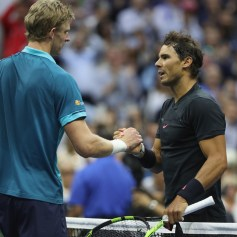 Rafael Nadal of Spain shakes hands after defeating Kevin Anderson of South Africa after their Men's Singles Finals match on Day Fourteen of the 2017 US Open at the USTA Billie Jean King National Tennis Center on September 10, 2017 in the Flushing neighborhood of the Queens borough of New York City. Rafael Nadal defeated Kevin Anderson in the third set with a score of 6-3, 6-3, 6-4. (Sept. 9, 2017 - Source: Matthew Stockman/Getty Images North America)