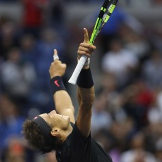 Rafael Nadal of Spain celebrates defeating Kevin Anderson of South Africa in their Men's Singles Finals match on Day Fourteen of the 2017 US Open at the USTA Billie Jean King National Tennis Center on September 10, 2017 in the Flushing neighborhood of the Queens borough of New York City. Rafael Nadal defeated Kevin Anderson in the third set with a score of 6-3, 6-3, 6-4. (Sept. 9, 2017 - Source: Matthew Stockman/Getty Images North America)