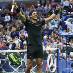 Rafael Nadal of Spain celebrates defeating Kevin Anderson of South Africa after their Men's Singles Finals match on Day Fourteen of the 2017 US Open at the USTA Billie Jean King National Tennis Center on September 10, 2017 in the Flushing neighborhood of the Queens borough of New York City. Rafael Nadal defeated Kevin Anderson in the third set with a score of 6-3, 6-3, 6-4. (Sept. 9, 2017 - Source: Clive Brunskill/Getty Images North America)