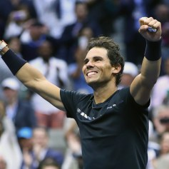 Rafael Nadal of Spain celebrates defeating Kevin Anderson of South Africa in their Men's Singles Finals match on Day Fourteen of the 2017 US Open at the USTA Billie Jean King National Tennis Center on September 10, 2017 in the Flushing neighborhood of the Queens borough of New York City. Rafael Nadal defeated Kevin Anderson in the third set with a score of 6-3, 6-3, 6-4. (Sept. 9, 2017 - Source: Clive Brunskill/Getty Images North America)