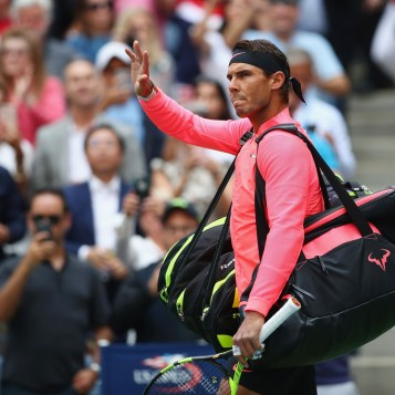 Rafael Nadal of Spain enters the court before his Men's Singles finals match against Kevin Anderson of South Africa on Day Fourteen of the 2017 US Open at the USTA Billie Jean King National Tennis Center on September 10, 2017 in the Flushing neighborhood of the Queens borough of New York City. (Sept. 9, 2017 - Source: Clive Brunskill/Getty Images North America)