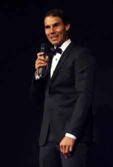 Rafael Nadal of Team Europe speaks on stage at the Laver Cup Gala dinner ahead of the Laver Cup on September 21, 2017 in Prague, Czech Republic. The Laver Cup consists of six European players competing against their counterparts from the rest of the World. Europe will be captained by Bjorn Borg and John McEnroe will captain the Rest of the World team. The event runs from 22-24 September. (Sept. 20, 2017 - Source: Clive Brunskill/Getty Images Europe)