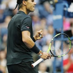 Rafael Nadal of Spain celebrates winning the first set over Kevin Anderson of South Africa during their Men's Singles finals match on Day Fourteen of the 2017 US Open at the USTA Billie Jean King National Tennis Center on September 10, 2017 in the Flushing neighborhood of the Queens borough of New York City. (Sept. 9, 2017 - Source: Matthew Stockman/Getty Images North America)