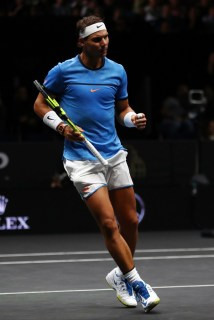 Rafael Nadal of Team Europe plays celebrates winning a point during his mens singles match against John Isner of Team World on the final day of the Laver cup on September 24, 2017 in Prague, Czech Republic. The Laver Cup consists of six European players competing against their counterparts from the rest of the World. Europe will be captained by Bjorn Borg and John McEnroe will captain the Rest of the World team. The event runs from 22-24 September. (Sept. 23, 2017 - Source: Clive Brunskill/Getty Images Europe)