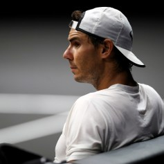 Rafael Nadal of Team Europe looks on during practice ahead of the Laver Cup on September 21, 2017 in Prague, Czech Republic. The Laver Cup consists of six European players competing against their counterparts from the rest of the World. Europe will be captained by Bjorn Borg and John McEnroe will captain the Rest of the World team. The event runs from 22-24 September. (Sept. 20, 2017 - Source: Julian Finney/Getty Images Europe)