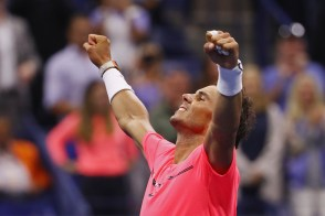 Rafael Nadal of Spain reacts after his third round match win over Leonardo Mayer of Argentina during their third round Men's Singles match on Day Six of the 2017 US Open at the USTA Billie Jean King National Tennis Center on September 2, 2017 in the Flushing neighborhood of the Queens borough of New York City. (Sept. 1, 2017 - Source: Al Bello/Getty Images North America)