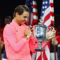 Rafael Nadal of Spain poses with the championship trophy during the trophy ceremony after their Men's Singles Finals match on Day Fourteen of the 2017 US Open at the USTA Billie Jean King National Tennis Center on September 10, 2017 in the Flushing neighborhood of the Queens borough of New York City. Rafael Nadal defeated Kevin Anderson in the third set with a score of 6-3, 6-3, 6-4. (Sept. 9, 2017 - Source: Clive Brunskill/Getty Images North America)