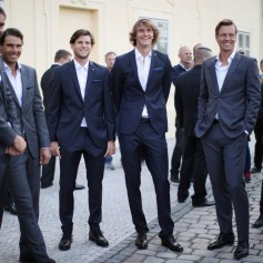 Alexander Zverev, Dominic Thiem and Tomas Berdych of Team Europe look on during previews on September 20, 2017 in Prague, Czech Republic. (Sept. 19, 2017 - Source: Julian Finney/Getty Images Europe)