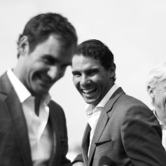 Rafael Nadal, Roger Federer and Bjorn Borg of Team Europe enjoy a joke during previews on September 20, 2017 in Prague, Czech Republic. (Sept. 19, 2017 - Source: Julian Finney/Getty Images Europe)
