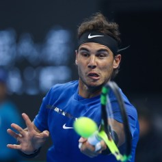 Rafael Nadal of Spain returns a shot during the Men's Singles Semifinals match against Grigor Dimitrov of Bulgaria on day eight of 2017 China Open at the China National Tennis Centre on October 7, 2017 in Beijing, China. (Oct. 6, 2017 - Source: Lintao Zhang/Getty Images AsiaPac)
