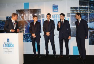 David Goffin of Belgium, Grigor Dimitrov of Bulgaria, Dominic Thiem of Austria and Rafael Nadal of Spain talk with Andrew Castle during the The Official Launch ATP Finals at Tower of London on November 9, 2017 in London, England. (Nov. 8, 2017 - Source: Julian Finney/Getty Images Europe)