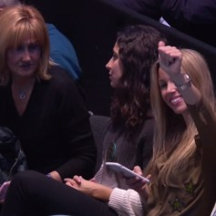 Rafael Nadal girlfriend Maria Francisca Perello, mother Ana Maria Parera and sister Maria Isabel salud the fans at O2 Arena in London 2017 ATP Finals