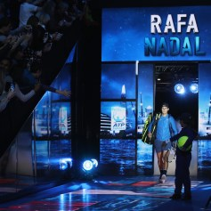Rafael Nadal of Spain walks out for his Singles match against David Goffin of Belgium during day two of the Nitto ATP World Tour Finals at O2 Arena on November 13, 2017 in London, England. (Nov. 12, 2017 - Source: Julian Finney/Getty Images Europe)