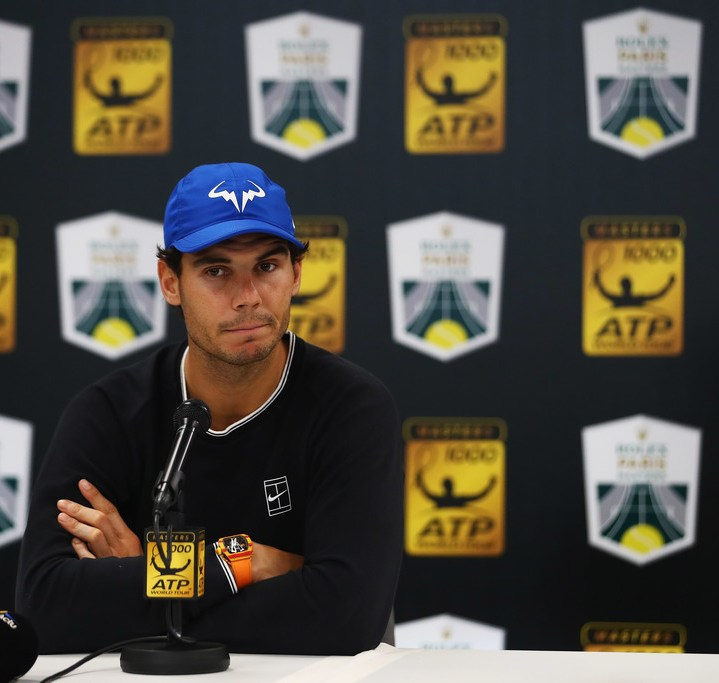 Rafael Nadal of Spain speaks to the media to announce he is pulling out of the tournament with injury during Day 5 of the Rolex Paris Masters held at the AccorHotels Arena on November 3, 2017 in Paris, France. (Nov. 2, 2017 - Source: Dean Mouhtaropoulos/Getty Images Europe)