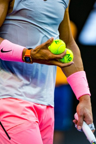 MELBOURNE, VIC - JANUARY 19: Rafael Nadal of Spain chooses which ball to keep in his third round match during the 2018 Australian Open on January 19, 2018, at Melbourne Park Tennis Centre in Melbourne, Australia. (Photo by Jason Heidrich/Icon Sportswire via Getty Images)