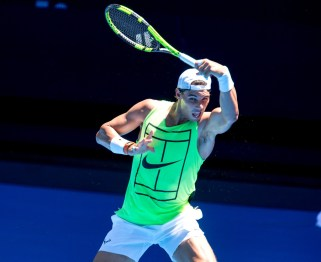 In this handout image provided by Tennis Australia, Rafael Nadal of Spain trains ahead of the Australian Open Grand Slam at Rod Laver Arena on January 6, 2018 in Melbourne, Australia. (Handout/Getty Images AsiaPac)