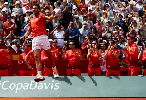 Rafael Nadal of Spain celebrates the victory in his match against Alexander Zverev of Germany during day three of the Davis Cup World Group Quarter Finals match between Spain and Germany at Plaza de Toros de Valencia on April 8, 2018 in Valencia, Spain (Photo by David Aliaga/NurPhoto via Getty Images)
