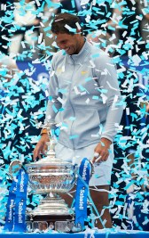 BARCELONA, SPAIN - APRIL 29: Rafael Nadal of Spain celebrates with the trophy after winning the Barcelona Open Banc Sabadell against Stefanos Tsitsipas of Greece during day seventh of the ATP Barcelona Open Banc Sabadell at the Real Club de Tenis Barcelona on April 29, 2018 in Barcelona, Spain. (Photo by Quality Sport Images/Getty Images)