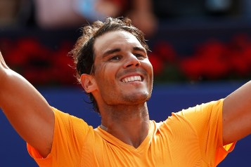 Spain's Rafael Nadal celebrates winning his semifinal match against Belgium's David Goffin in two sets 6-4, 6-0, during the Barcelona Open Tennis Tournament in Barcelona, Spain, Saturday, April 28, 2018. (AP Photo/Manu Fernandez)