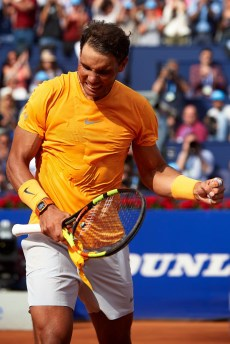 BARCELONA, SPAIN - APRIL 28: Rafael Nadal of Spain celebrates his victory after his match against David Goffin of Belgium during day sixth of the ATP Barcelona Open Banc Sabadell at the Real Club de Tenis Barcelona on April 27, 2018 in Barcelona, Spain. (Photo by Quality Sport Images/Getty Images)