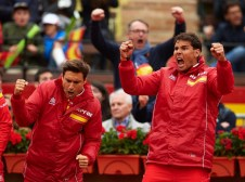 VALENCIA, SPAIN - APRIL 07: Rafael Nadal (R) and David Ferrer of Spain celebrate a point during day two of the Davis Cup World Group Quarter Final match between Spain and Germany at Plaza de Toros de Valencia on April 7, 2018 in Valencia, Spain. (Photo by Manuel Queimadelos Alonso/Getty Images)