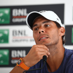ROME, ITALY - MAY 13: Rafael Nadal of Spain of Spain talks to the media during day one of the Internazionali BNL d'Italia 2018 tennis at Foro Italico on May 13, 2018 in Rome, Italy. (Photo by Julian Finney/Getty Images)