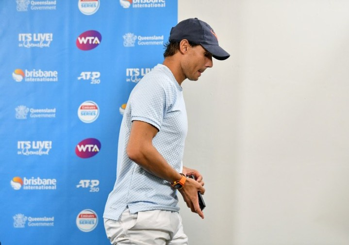 epa07258095 Rafael Nadal of Spain leaving a press conference after announcing his withdrawal from playing at the Brisbane International tennis tournament at the Queensland Tennis Centre in Brisbane, Australia, 02 January 2019. EPA-EFE/DARREN ENGLAND EDITORIAL USE ONLY AUSTRALIA AND NEW ZEALAND OUT