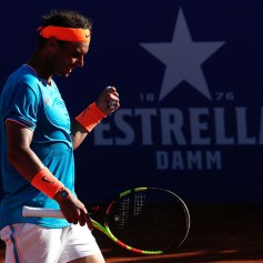 Spain's Rafael Nadal gestures during the ATP Tour Barcelona Open semi-final tennis match against Austria's Dominic Thiem in Barcelona on April 27, 2019. (Photo by Pau Barrena / AFP) (Photo credit should read PAU BARRENA/AFP/Getty Images)